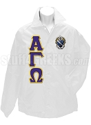 Alpha Gamma Omega Greek Letter Line Jacket with  Crest, White