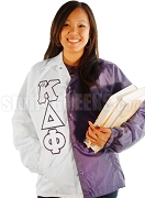 alpha Kappa Delta Phi Two-Tone Line Jacket with Greek Letters, Purple/White