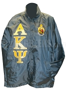 Alpha Kappa Psi Line Jacket with Split Greek Letters and Crest, Navy Blue