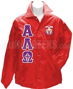Alpha Lambda Omega Greek Letter Line Jacket with Crest, Red