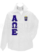 Alpha Omega Epsilon Greek Letter Line Jacket with Crest, White