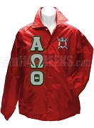 Alpha Omega Theta Greek Letter Line Jacket with Crest, Red