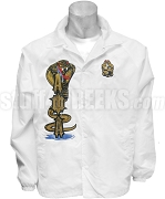 Alpha Phi Alpha Line Jacket with Icey Cobra Thru Ironrider Greek Letters and Crest, White