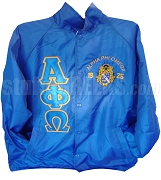 Alpha Phi Omega Line Jacket with Greek Letters and Embellished Crest, Royal Blue