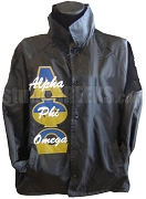 Alpha Phi Omega Line Jacket with Name Thru Split Greek Letters, Black