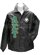 Alpha Sigma Tau Greek Letter Line Jacket with Crest, Black
