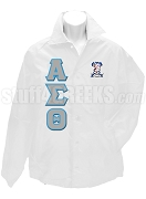 Alpha Sigma Theta Greek Letter Line Jacket with Crest, White
