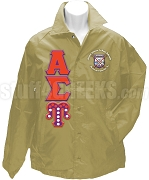 Alpha Sigma Upsilon Line Jacket with Pearl Greek Letters and Organization Name, Tan