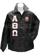 Alpha Theta Omega Greek Letter Line Jacket with Crest, Black