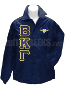 Beta Kappa Gamma Greek Letter Line Jacket with Crest, Navy Blue