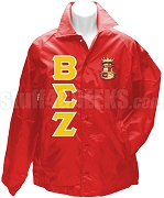Beta Sigma Zeta Greek Letter Line Jacket with Crest, Red