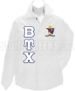 Beta Upsilon Chi Greek Letter Line Jacket with Crest, White