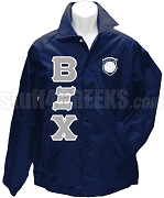 Beta Xi Chi Greek Letter Line Jacket with Crest, Navy Blue