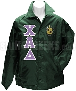 Chi Alpha Delta Greek Letter Line Jacket with Crest, Forest Green