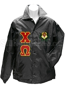 Chi Omega Line Jacket with Greek Letters and Crest, Black