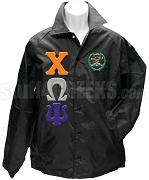 Chi Omega Psi Greek Letter Line Jacket with Crest, Black