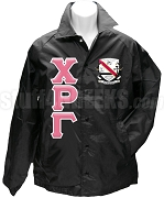 Chi Rho Gamma Greek Letter Line Jacket with Crest, Black