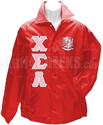 Chi Sigma Alpha Greek Letter Line Jacket with Crest, Red