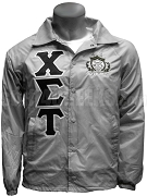Chi Sigma Tau Greek Letter Line Jacket with Crest, Gray