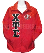 Chi Upsilon Sigma Greek Letter Line Jacket with Founding Year Crest, Red