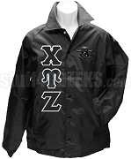 Chi Upsilon Zeta Greek Letter Line Jacket with Crest, Black