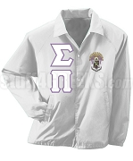 Sigma Pi Greek Letter Line Jacket with Crest, White