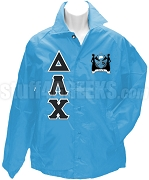 Delta Lambda Chi Greek Letter Line Jacket with Crest, Baby Blue