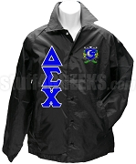 Delta Sigma Chi Greek Letter Line Jacket with Crest, Black
