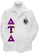 Delta Tau Delta Line Jacket with Greek Letters and Crest, White