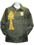 Delta Tau Lambda Line Jacket with Greek Letters and Crest, Brown