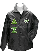 Delta Zeta Line Jacket with Greek Letters and Crest, Black