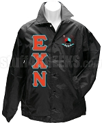 Epsilon Chi Nu Greek Letter Line Jacket with Crest, Black