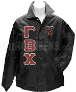 Gamma Beta Chi Greek Letter Line Jacket with Crest, Black