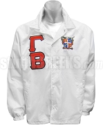 Gamma Beta Greek Letter Line Jacket with Crest, White