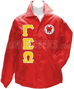 Gamma Epsilon Omega Greek Letter Line Jacket with Crest, Red