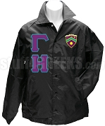 Gamma Eta Greek Letter Line Jacket with Crest, Black