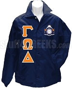 Gamma Omega Delta Greek Letter Line Jacket with Crest, Navy Blue