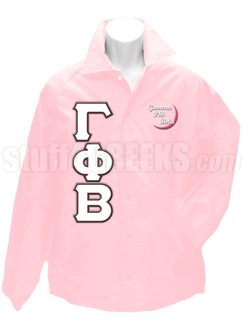gamma phi beta greek letter line jacket with embellished crescent moon light pink
