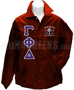 Gamma Phi Delta Greek Letter Line Jacket with Crest, Maroon