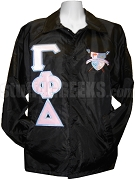 Gamma Phi Delta Greek Letter Line Jacket with Crest, Black