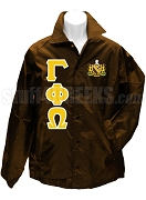 Gamma Phi Omega Fraternity Greek Letter Line Jacket with Crest, Brown