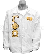 Gamma Phi Omega Greek Letter Line Jacket with Founding Year Crest, White