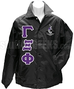 Gamma Xi Phi Greek Letter Line Jacket with Crest, Black