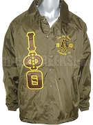 Iota Phi Theta Crossing Jacket with Embellished Crest and Starred Greek Letters, Brown