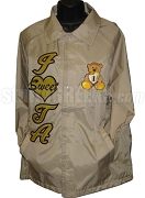 Iota Sweetheart Line Jacket with Teddy Bear Logo and Letters, Tan