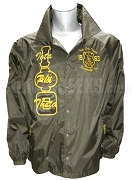 Iota Phi Theta Greek Letter Crossing Jacket with Letters Thru and Embellished Crest, Brown