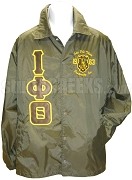 Iota Phi Theta Greek Letter Crossing Jacket with Embellished Crest, Brown