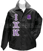 Iota Chi Kappa Greek Letter Line Jacket with Crest, Black