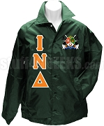 Iota Nu Delta Greek Letter Line Jacket with Crest, Forest Green