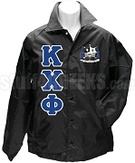 Kappa Chi Phi Greek Letter Line Jacket with Crest, Black